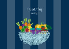 Hand drawn doodle Vegetables and wicker basket on blue stripe backgrounds,Vector illustrations Stock Photography