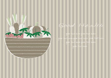 Hand drawn doodle Vegetables and wicker basket on brown stripe backgrounds,Vector illustrations Stock Photo