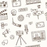 Hand drawn doodle video blogging seamless pattern. Vector illustration. Symbol collection Royalty Free Stock Photos