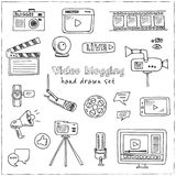 Hand drawn doodle video blogging set. Vector illustration.  elements on white background. Symbol collection Stock Photos