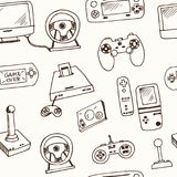 Hand drawn doodle video games seamless pattern Stock Image