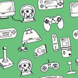 Hand drawn doodle video games seamless pattern. Vector illustration. Symbol collection Stock Images