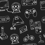 Hand drawn doodle video games seamless pattern. Vector illustration. Symbol collection Royalty Free Stock Image