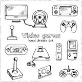 Hand drawn doodle video games set. Vector illustration. Isolated elements on white background. Symbol collection Royalty Free Stock Images