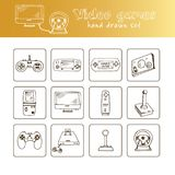 Hand drawn doodle video games set. Vector illustration. Isolated elements on white background. Symbol collection Stock Photo