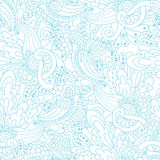 Hand-drawn doodle waves floral pattern, abstract blue leaves and Royalty Free Stock Photography