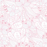 Hand-drawn doodle waves floral pattern, abstract leaves and flow stock illustration