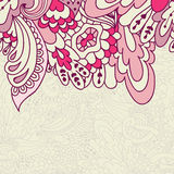 Hand-drawn doodle waves floral pattern, abstract leaves and flow Stock Photos