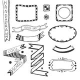 Hand drawn doodle web design elements. Vector set Royalty Free Stock Photos