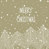 Hand Drawn Doodle White Fir Trees in Forest Snowfall Merry Christmas Hand Lettering. Beige Craft Paper Background. Abstract Royalty Free Stock Photo