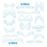 Hand drawn doodle wings collection Royalty Free Stock Image