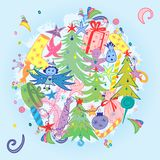 Hand Drawn Doodle Winter Holiday Symbols. Colorful Children Drawings of Fir Trees, Gifts, Candle, Sweets, Angel and Snowflakes. Stock Photo