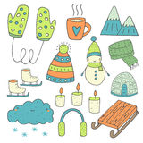 Hand drawn doodle winter objects collection Royalty Free Stock Photos