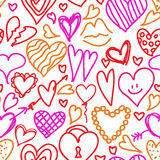 Hand drawn doodled hearts seamless pattern Stock Images