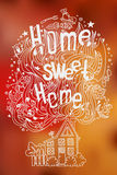 Hand drawn doodled slogan HOME SWEET HOME with symbols of home Royalty Free Stock Photography