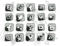 Hand drawn doodled social media icons.