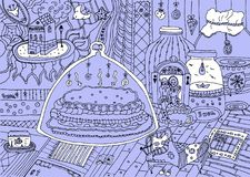 Hand-drawn doodles κινούμενων σχεδίων ελεύθερη απεικόνιση δικαιώματος