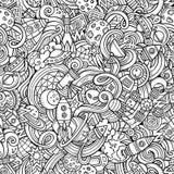 Hand-drawn doodles κινούμενων σχεδίων σχετικά με το θέμα του διαστήματος Στοκ εικόνες με δικαίωμα ελεύθερης χρήσης
