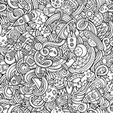 Hand-drawn doodles κινούμενων σχεδίων σχετικά με το θέμα του διαστήματος Στοκ Εικόνες