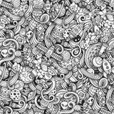 Hand-drawn doodles κινούμενων σχεδίων σχετικά με το θέμα του διαστήματος Στοκ Φωτογραφία