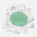 Hand drawn doodles background with business icons Royalty Free Stock Image