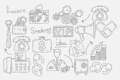 Hand drawn doodles background with business icons Stock Photo