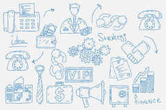 Hand drawn doodles background with business icons Royalty Free Stock Images