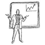 Hand drawn doodles of businessman. And white board with up chart graph royalty free illustration