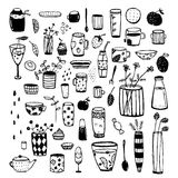 Hand Drawn Doodles of Dishware Black Sketchy Graphic Collection for Design. Crockery and dishware big set of items for designer. Vector cartoon isolated objects Royalty Free Stock Image