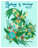 Hand drawn doodles flowers. Hand written words Spring is coming vector illustration