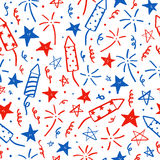Hand drawn doodles. Fourth of July. I. Ndependence Day. Vector seamless pattern Royalty Free Stock Photo