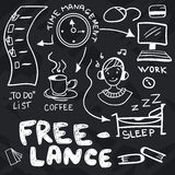 Hand drawn doodles about freelance Stock Photo