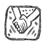 Hand drawn doodles of hand holding Royalty Free Stock Images
