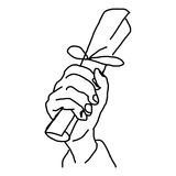 Hand drawn doodles of hand holding paper roll Royalty Free Stock Image