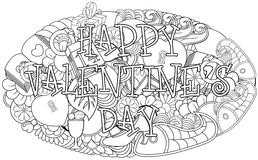 Hand drawn doodles happy valentines day with elements background Royalty Free Stock Photo