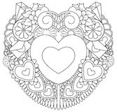 Hand drawn doodles happy valentines day with symbol and elements theme form heart Royalty Free Stock Images