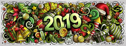 2019 hand drawn doodles illustration. New Year objects and elements design. 2019 hand drawn doodles horizontal illustration. New Year objects and elements poster stock illustration