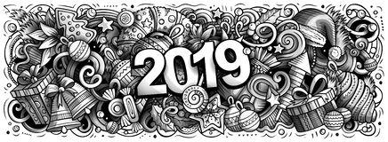 2019 hand drawn doodles illustration. New Year objects and elements design. 2019 hand drawn doodles horizontal illustration. New Year objects and elements poster royalty free illustration