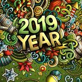2019 hand drawn doodles illustration. New Year objects and elements design. 2019 hand drawn doodles illustration. New Year objects and elements poster design vector illustration
