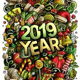 2019 hand drawn doodles illustration. New Year objects and elements design. 2019 hand drawn doodles illustration. New Year objects and elements poster design stock illustration