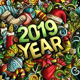 2019 hand drawn doodles illustration. New Year objects and elements design. 2019 hand drawn doodles illustration. New Year objects and elements poster design royalty free illustration