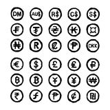 Hand drawn doodles international currency symbols Royalty Free Stock Photography