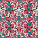 Hand-drawn Doodles Style Kaleidoscope Vector Seamless Pattern royalty free illustration