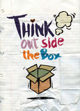 Hand drawn doodles,think out side the box concept Stock Photography