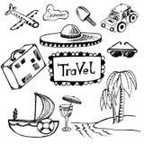 Hand-drawn doodles tourism set. Royalty Free Stock Image