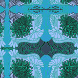 Hand-drawn doodles Zentangle pattern. In blue and green colours Royalty Free Stock Photography