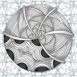 Hand-drawn doodles zentangle pattern. In grayscale color Stock Photography