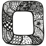 Hand drawn doodling frame for text or photo. Abstract doodle background with patterns, vector illustration Stock Images