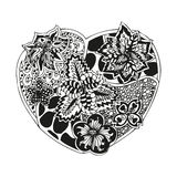 Hand-drawn doodling heart in tattoo style Royalty Free Stock Image