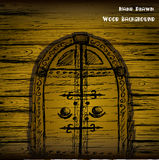 Hand drawn door and wood wal Stock Photo